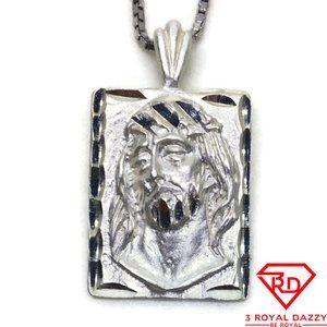 Jesus Portrait 3D Pendant 925 Sterling Silver